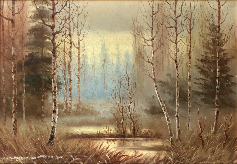 "Григорий Лебский, ""Брезова горичка"", към 1950 г., маслени бои, картон, 35 х 50 см"