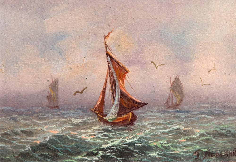 """Григорий Лебский, """"Ветроходи в Черно море"""", към 1940, м. б., картон, 11,5х16 см"""
